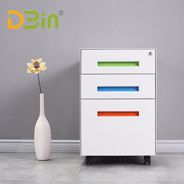 SB-X008-Colorful Handle 3 drawer Steel Mobile Pedestal