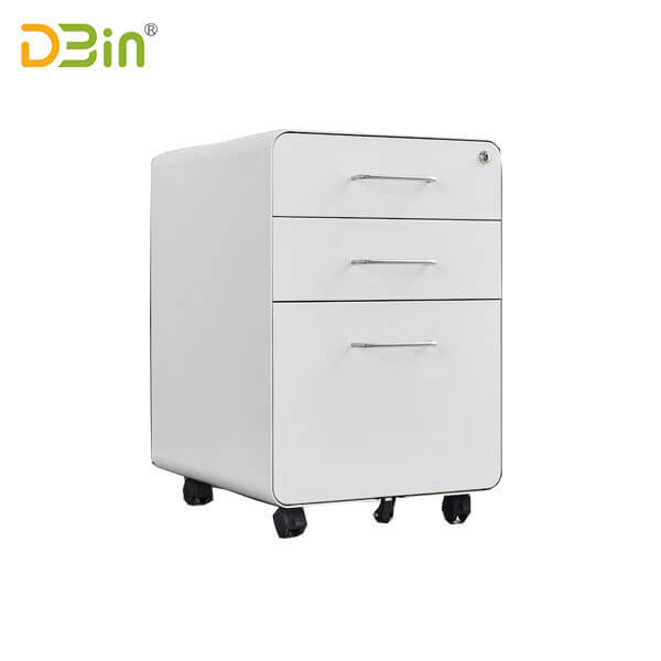3 drawer Round Edge White Mobile Pedestal for sale