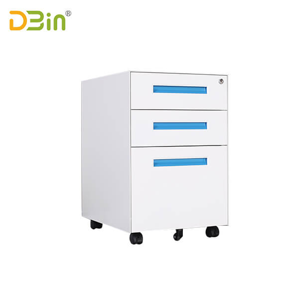 3 drawer Narrow Side Steel Mobile Pedestal