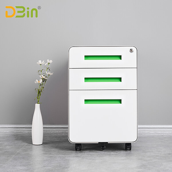 SB-X017-Green 3 drawer Steel Mobile Pedestal